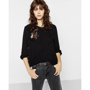 NWT Zara Size XS Double Frill Embroidered Top